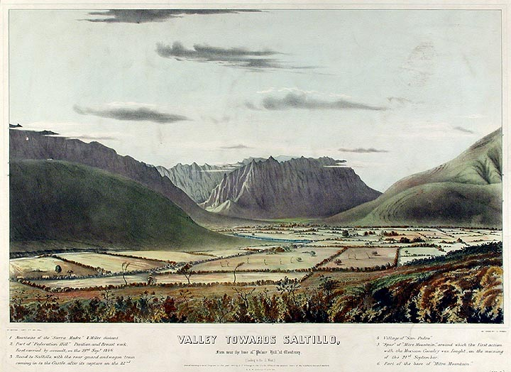"""Valley towards Saltillo, From near the base of """"Palace Hill,"""" at Monterey (Looking to the S. West) [No. 3 of a Series]. Lieutenant-Colonel Daniel Powers WHITING, b. 1808."""