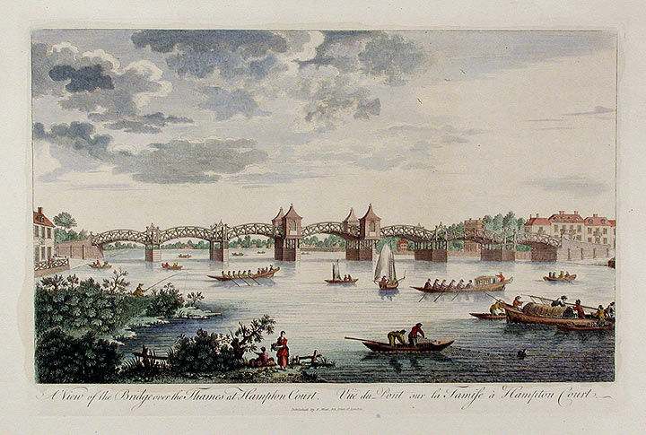 A View of the Bridge over the Thames at Hampton Court / Vüe du Pont sur la Tamise à Hampton Court. ANONYMOUS.
