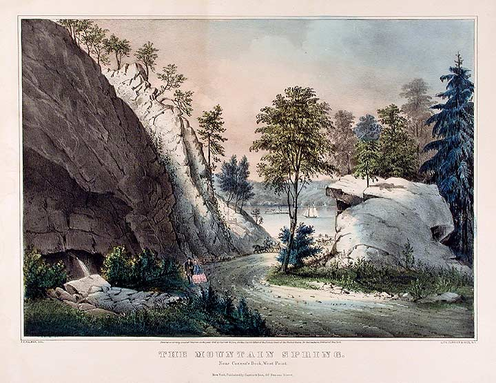 The Mountain Spring. Near Cozzen's Dock, West Point. CURRIER, IVES - After Francis F. PALMER, publishers.