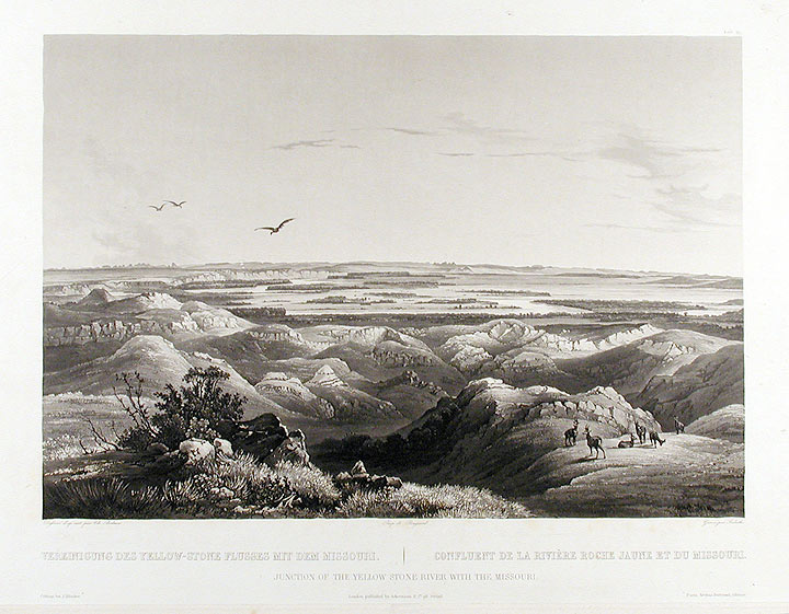 Junction of the Yellow Stone River with the Missouri. Karl BODMER.