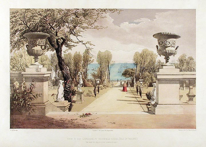 View in the Gardens at Westfield House, (Isle of Wight.) The Seat of Sir Agustus Clifford Bart. After Edward Adveno BROOKE.