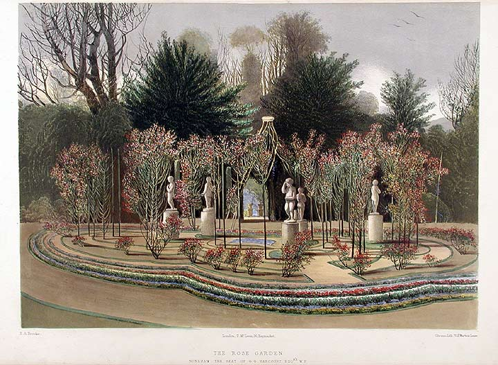 The Rose Garden. Nuneham, The Seat of G.G. Harcourt Esqre. M.P. After Edward Adveno BROOKE.