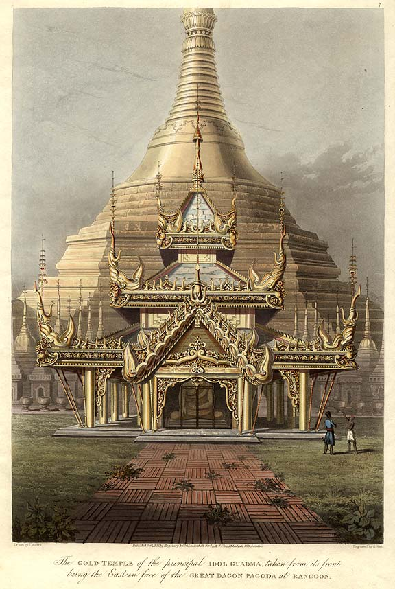 The Gold Temple of the principal Idol Guadma, taken from its front being the Eastern face of the Great Dagon Pagoda at Rangoon. Lieutenant Joseph MOORE, and Captain Frederick MARRYAT.