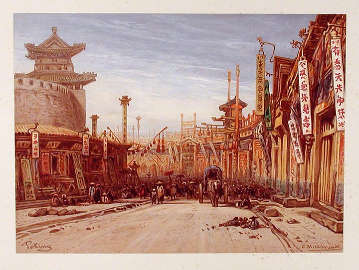 Runde Strasse in Peking. After Eduard HILDEBRANDT.
