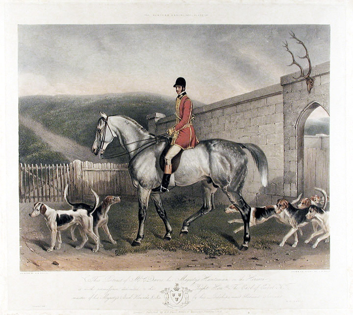 This Portrait of Mr. C. Davis, his Majesty's Huntsman, on the Hermit is with permission dedicated to the Right Hnble. The Earl of Errol K.T. master of his Majesty's Buck Hounds. After Richard Barrett DAVIS.