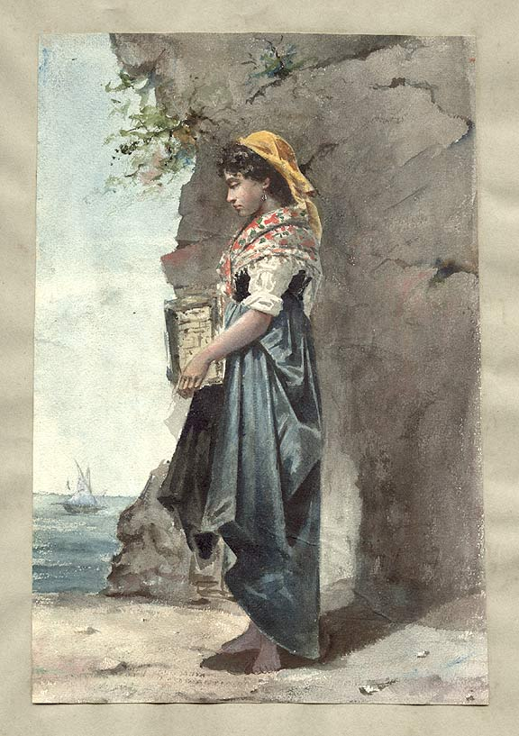 Italian Peasant Woman in Scenic Landscape. ANONYMOUS.