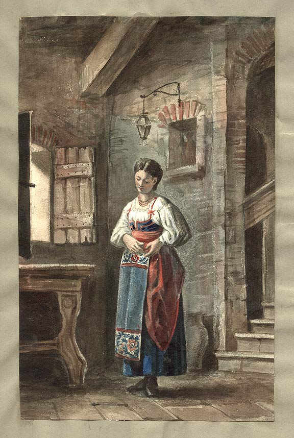 Italian Peasant Woman in a Domestic Interior. ANONYMOUS.
