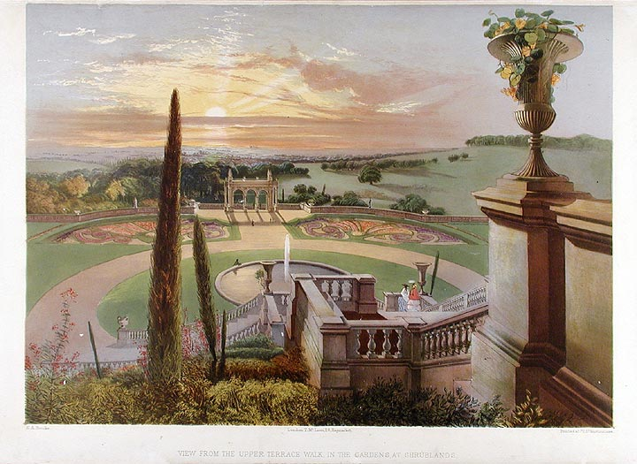 View from the Upper Terrace Walk, in the Gardens at Shrublands. After Edward Adveno BROOKE.
