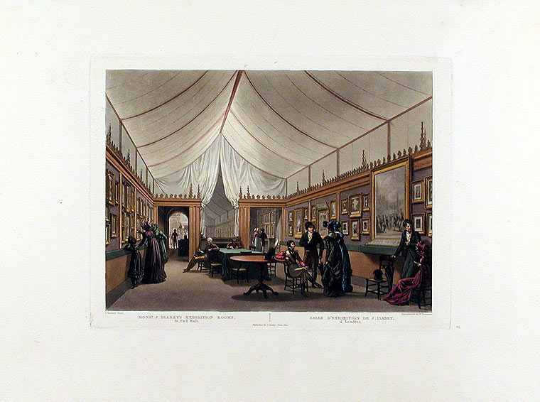 Monsr. J. Isabey's Exhibition Rooms, 61 Pall Mall / Salle d'Exhibition de J. Isabey, a Londres. William James BENNETT, after J. ISABEY.