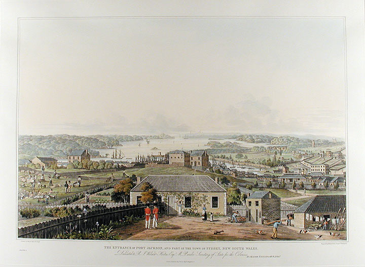 Three panoramic views of Port Jackson, in New South Wales, with the town of Sydney, and the adjacent scenery. After original drawings by … Taylor… drawn from nature… between 1817 and 1822. James TAYLOR, of his Majesty's 48th Regiment of Foot Major.