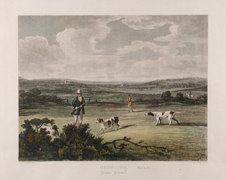 Set of Four Shooting Prints, [Plate 1] Shooting, Going Out, [Plate 2] Shooting, Game Found, [Plate 3] Shooting, Dogs brought the Game, and reloading, [Plate 4] Shooting, Refreshing. S. after Dean WOLSTENHOLME HIMLEY.