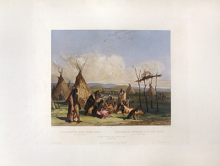 Funeral Scaffold of a Sioux Chief near Fort Pierre. Karl BODMER.