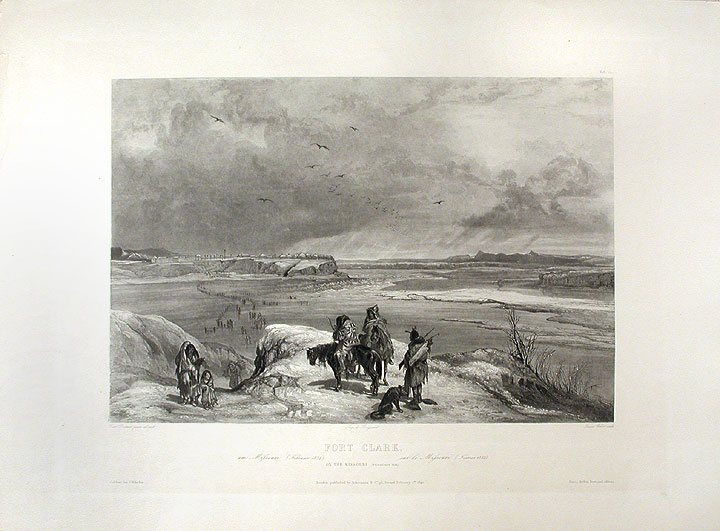 Fort Clark. On the Missouri (February 1834). Karl BODMER.