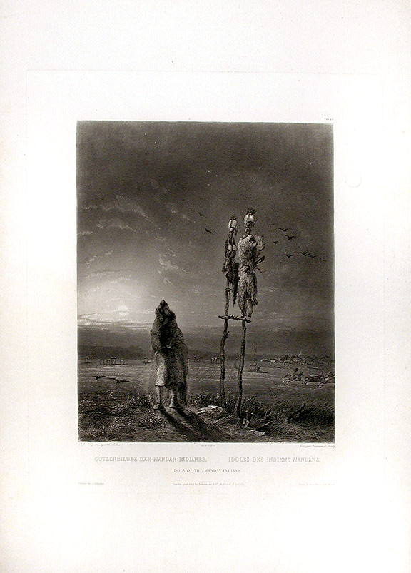 Idols of the Mandan Indians. Karl BODMER.