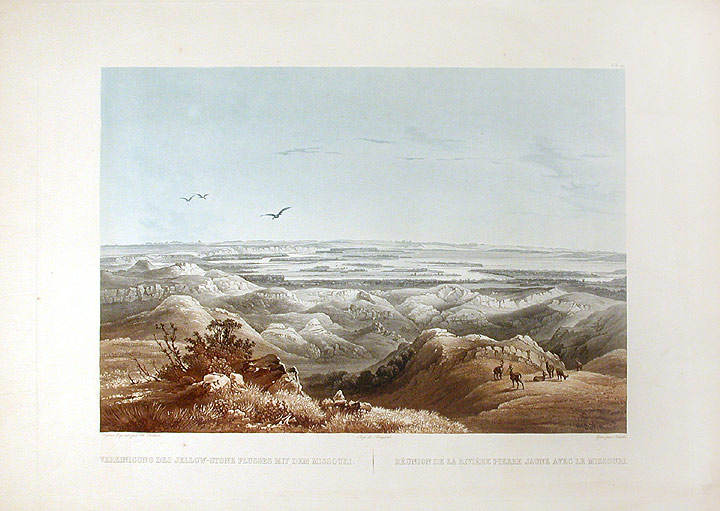 [Junction of the Yellow-Stone River with the Missouri. Karl BODMER.