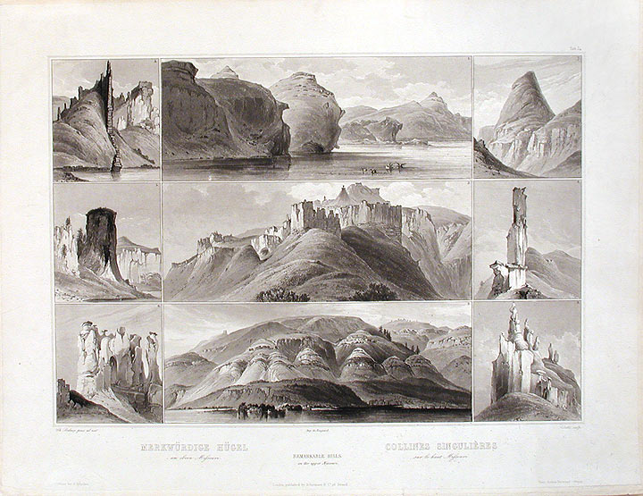 Remarkable Hills on the upper Missouri. Karl BODMER.