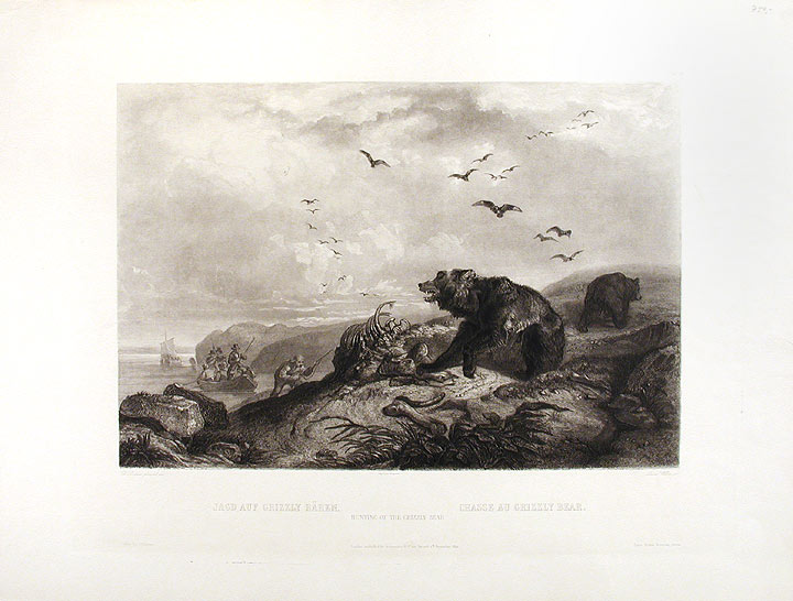 Hunting of the Grizzly Bear. Karl BODMER.