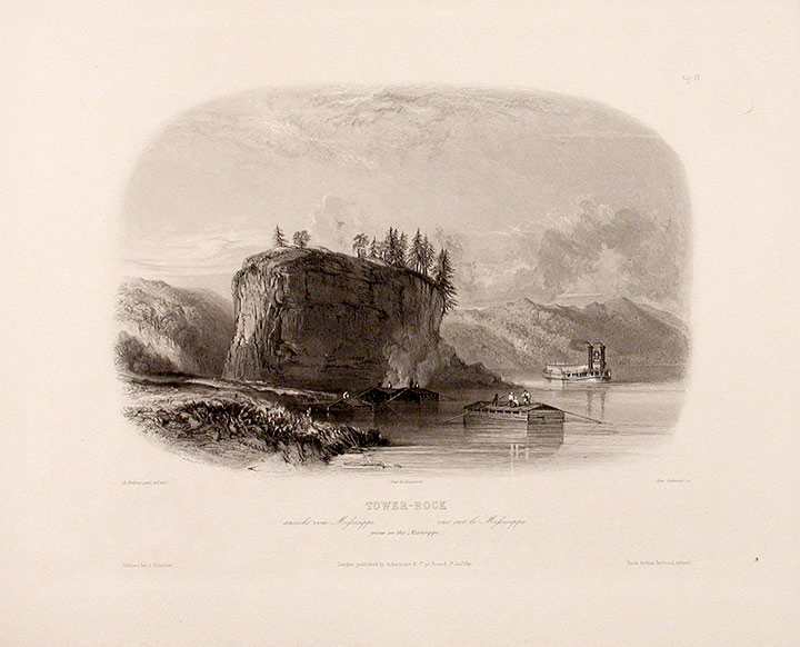 Tower-Rock view on the Mississippi. Karl BODMER.