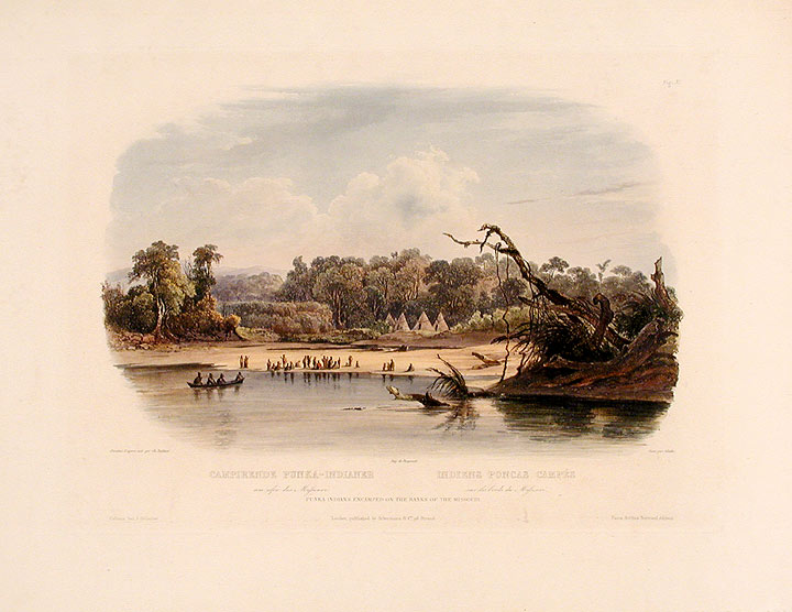 Punka Indians camped on the banks of the Missouri. Karl BODMER.