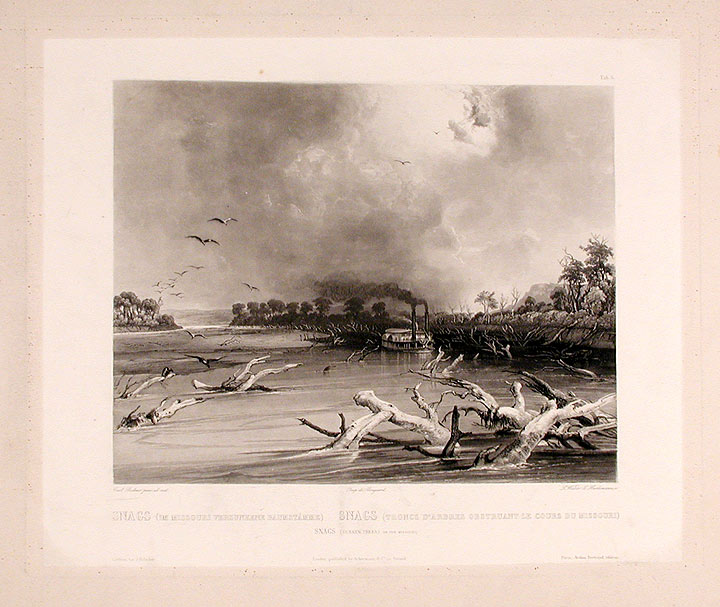 Snags (sunken trees) on the Missouri. Karl BODMER.