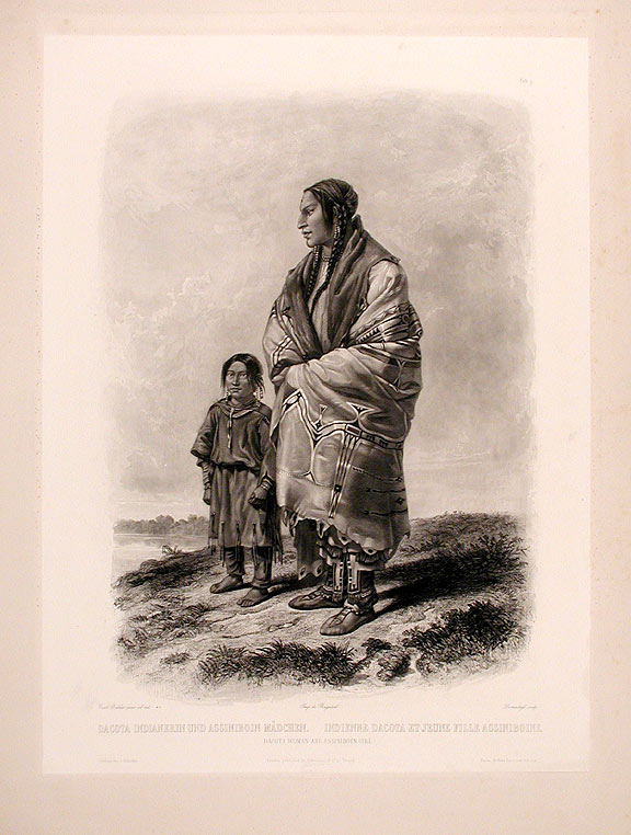 Dacota Woman and Assiniboin Girl. Karl BODMER.