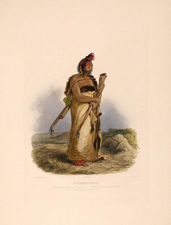 Mexkemahuastan. Chief of the Gros-ventres de Prairies. Karl BODMER.
