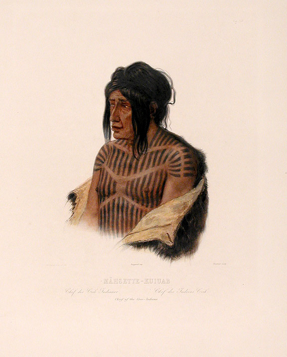 Mähsette-Kuiuab Chief of the Cree-Indians. Karl BODMER.