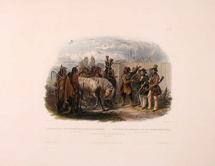 The travelers meeting with the Minatarre Indians. near Fort Clark. Karl BODMER.