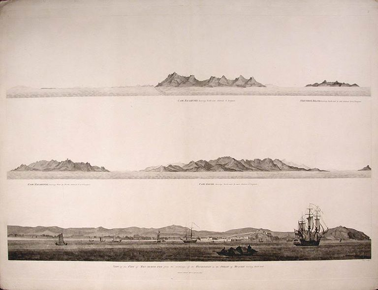 View of the City of Ten-Tchoo from the anchorage of the Hindostan in the Strait of Mi-A-Tau bearing South-west. Sir George Leonard STAUNTON, J. BARROW, B. BAKER.