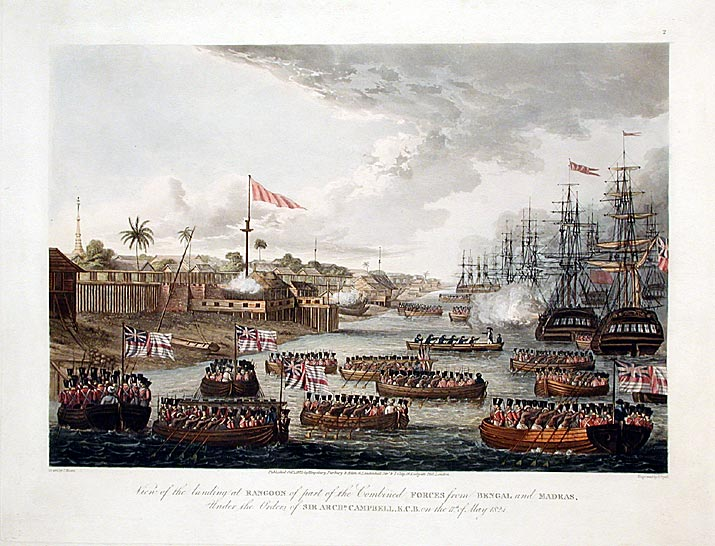 {rtf1ansideff0{fonttbl {f0fswiss MS Sans Serif;}}pardf0fs20 View of the landing at Rangoon of part of the Combined forces from Bengal and Madras, under the Orders of Sir Archd. Campbell, K.C. B. on the 11th of May 1824.}. Lieutenant Joseph MOORE, and Captain Frederick MARRYAT.