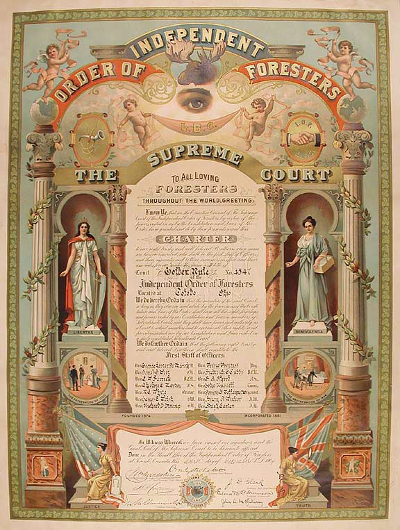 [Forestry] A chromolithographed and manuscript charter for the Toledo, Ohio, branch or 'court' of the Order of Independent Foresters. TORONTO Lithographing Co. Ltd, chromolithographers.