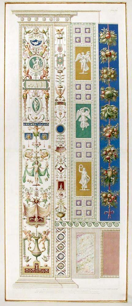 Decorative pilaster with fruit, flowers, and tendrils. RAPHAEL. Raffaello Sanzio d'Urbino.