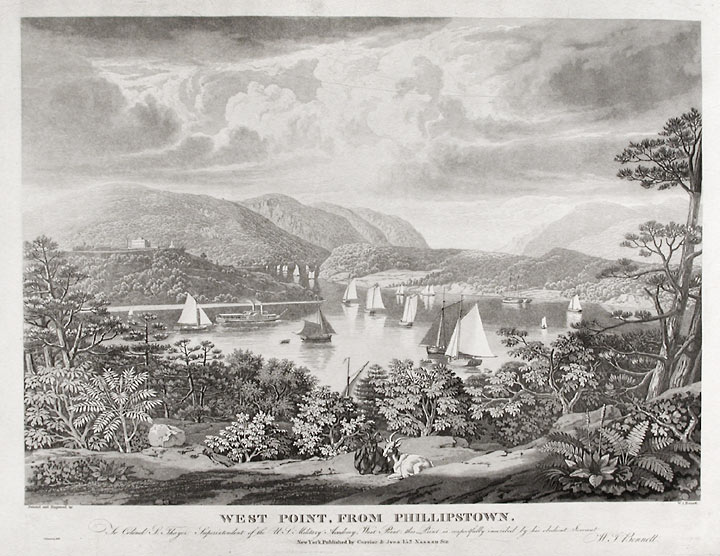 West Point from Phillipstown. To Colonel S. Thayer Superintendant of the U.S. Military Academy, West Point. William James BENNETT, c.