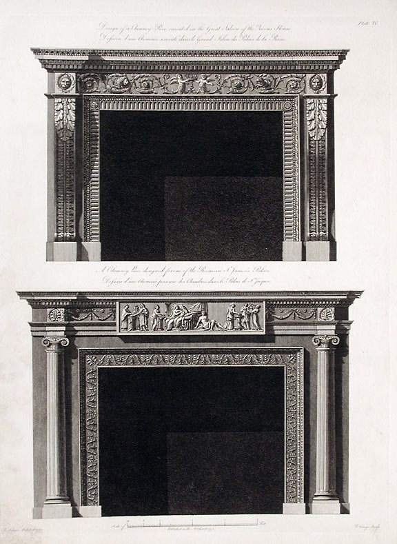 Design of a Chimney Piece executed in the Great Saloon of the Queens House / A Chimney Piece Designed for one of the Rooms in St. James's Palace. After Robert ADAM.