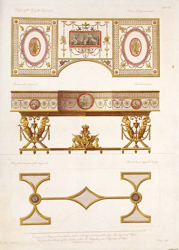 Design of a Harpsichord executed in London, with different coloured woods, for the Empress of Russia. After Robert ADAM.