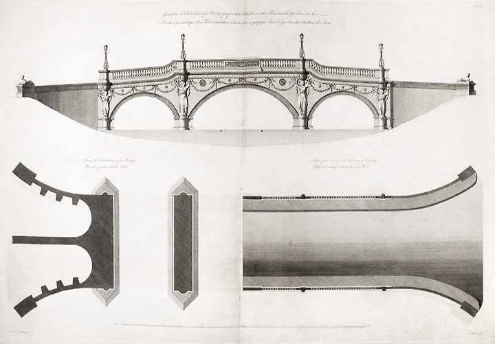 Geometrical elevation of a Bridge to be built over the River in the Garden at Sion... Plan of the Foundations of the Bridge... Plan of the Carriage and Footways of the Bridge. After Robert ADAM.