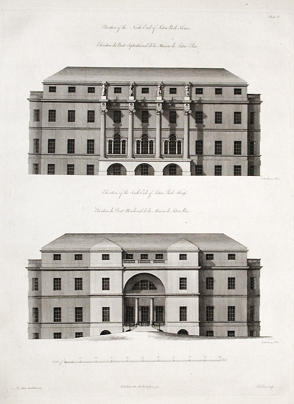 Elevation of the North End of Suton Park House / Elevation of the South End of Suton Park House. After Robert ADAM, James ADAM, d.1794.