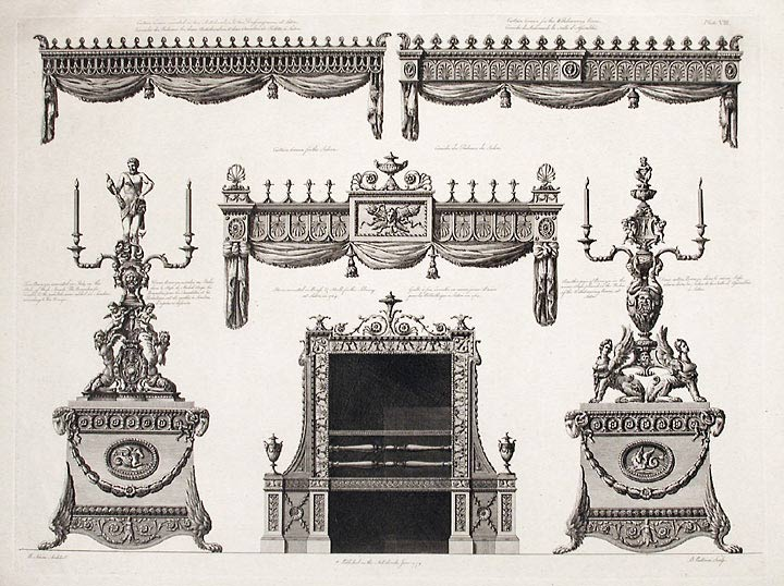 Designs for the Chimney Piece and Curtain Cornice at Sutton Park. After Robert ADAM, James ADAM, d.1794.