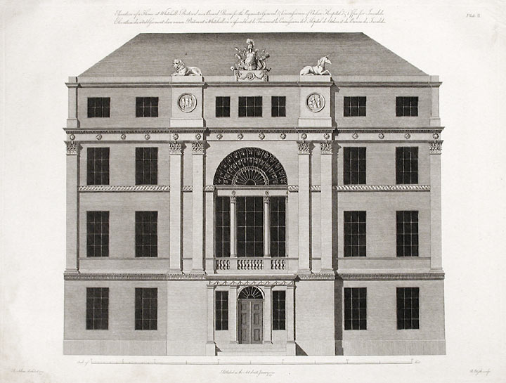 Elevation of a House at Whitehall Restore as a Board Room for the Paymaster General & Commissioners of Chelsea Hospital & Office for Invalids. After Robert ADAM, James ADAM, d.1794.