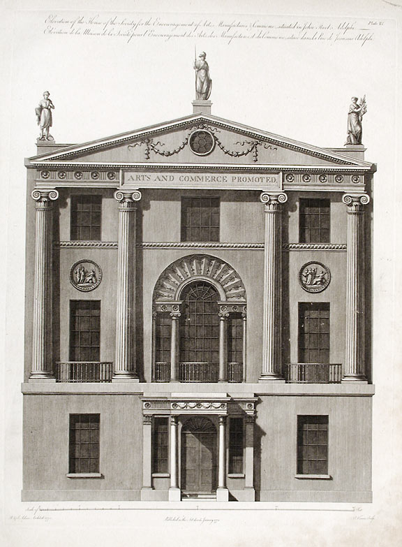 Elevation of the House of the Society for the Encouragement of Arts, Manufacturers & Commerce, Situated in John Street, Adelphi. After Robert ADAM, James ADAM, d.1794.