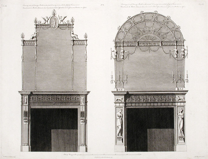 Two Chimney-pieces in the First and Second Withdrawing-rooms, with Glass Frames over them. After Robert ADAM, James ADAM, d.1794.