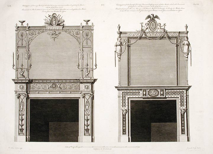 Two Chimney-pieces in the Great Withdrawing-room and the Countess of Derby's Dressing-room. After Robert ADAM, James ADAM, d.1794.