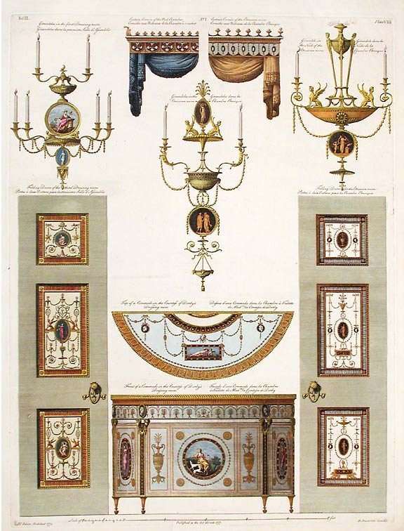 Contains some of the Parts at large of the Finishing and Furniture of the Earl of Derby's House. After Robert ADAM, James ADAM, d.1794.