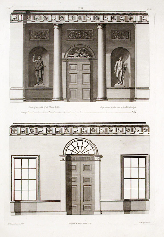 Section of Two Sides of the Porter's Hall. After Robert ADAM, James ADAM, d.1794.