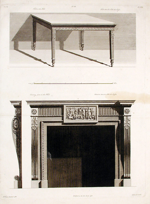 Chimneypiece and Table in the Hall of Shelburne House. After Robert ADAM, James ADAM, d.1794.