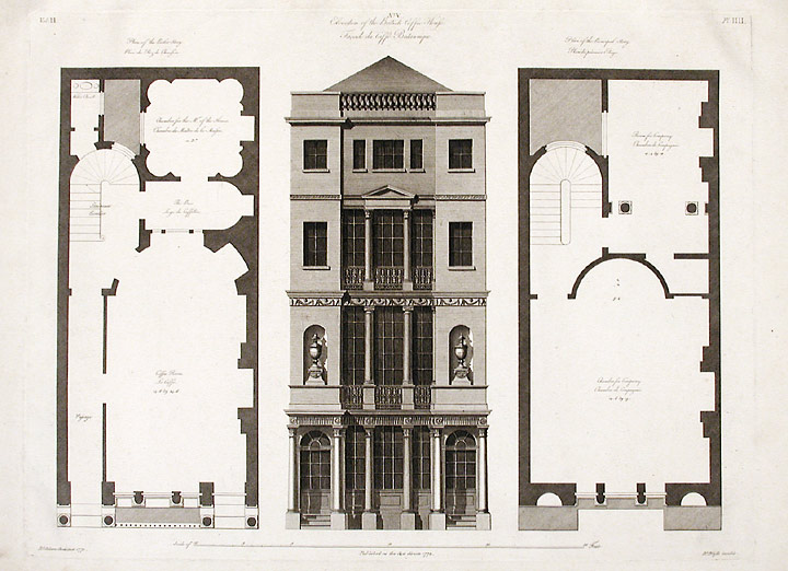 Elevation and Floorplans of the British Coffee House. After Robert ADAM, James ADAM, d.1794.