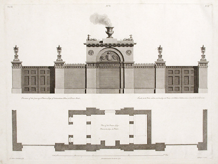 Elevation and Plans of the Gateway and Porter's Lodge of Ashburnham House in Dover Street. After Robert ADAM, James ADAM, d.1794.