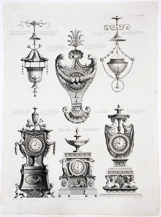 Various Furnishings, Including Decorative Clocks, an Ornamental Knocker, and Two Hanging Lights. After Robert ADAM, James ADAM, d.1794.