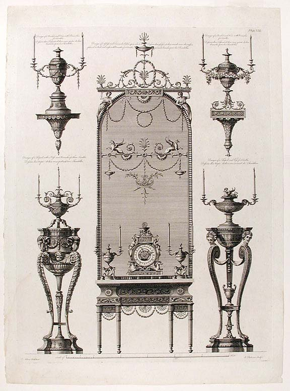 Miscellaneous Designs of Various Pieces of Furniture, done for Different Persons, which are here Introduced in Order to Give More Utility and Diversity to the Work, and Contains as Follows. After Robert ADAM, James ADAM, d.1794.
