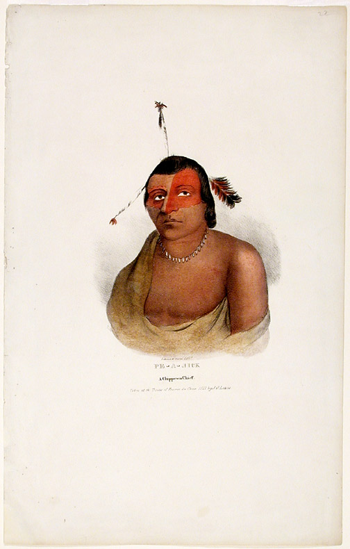 Pe-A-Jick A Chippewa Chief. Taken at the Treaty of Prairie du Chien 1825 by J. O. Lewis. After James Otto LEWIS.